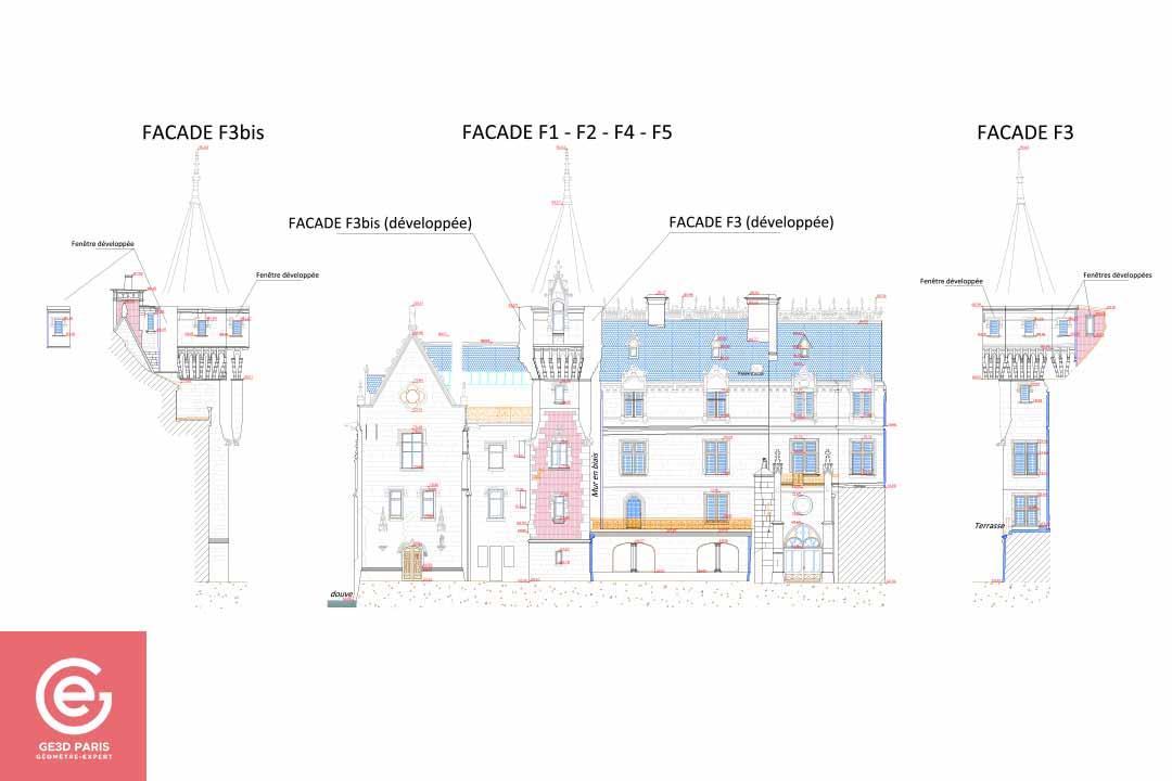 Plan de façade du Château de Vigny